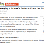 Ed Week Article on Changing School Culture