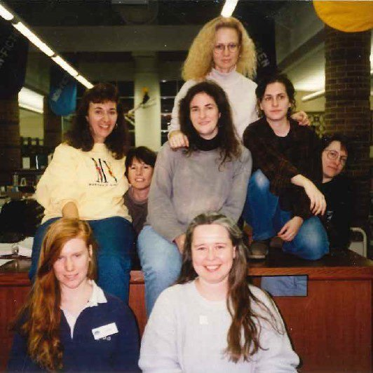 Staff barcoding the collection in 1994